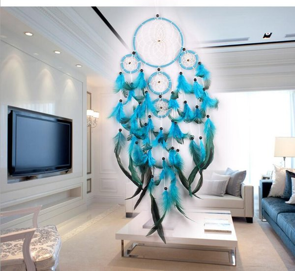 top popular Big Dreamcatchers Wind Chime Net Hoops With 5 Rings Dream Catcher For Car Wall Hanging Plaint Ornaments Decoration Craft Free Shipping 2020