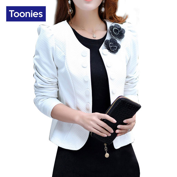 Wholesale-2017 Autumn Long Sleeve Double Breasted Blazer Suit Womens Coat Short Back Bow Blazers Flower Appliques Formal Office Lady Tops