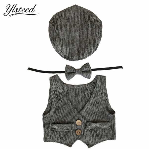 2017 Newborn Photography Costumes Baby Hat +Bow Tie +Vest Baby Boy Photo Props Gentlemen Beret Infant Photograpy Accessories