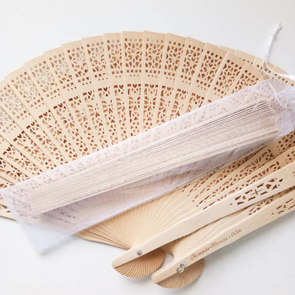 top popular Custom logo wooden hand fans wedding fan favors with organza bag for party guests 200pcs lot free shipping 2021