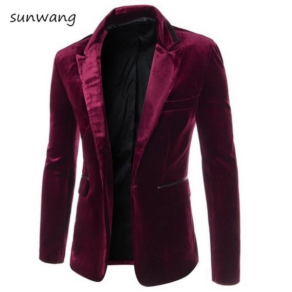 2018 Mode Hommes casual blazers velours vêtements pour hommes costume slim fit Vin rouge hommes masculins blazer blazer vestes Noir Pourpre, M-XXL