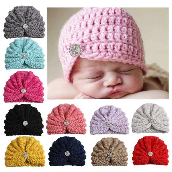 2018 New Rhinestone Knit Wool Crochet Turban hat Headband Kids Girls Head wrap Hair Bands Winter Warmer Headband Hairband Accessories