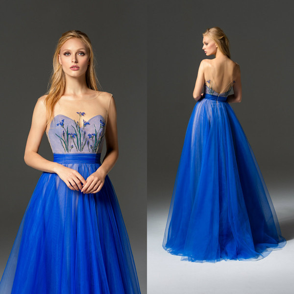 Elegant Tulle Prom Dresses With Sheer Jewel Neck Printed Pattern Beads Evening Dresses Custom Made Backless Party Gowns Homecoming Dress