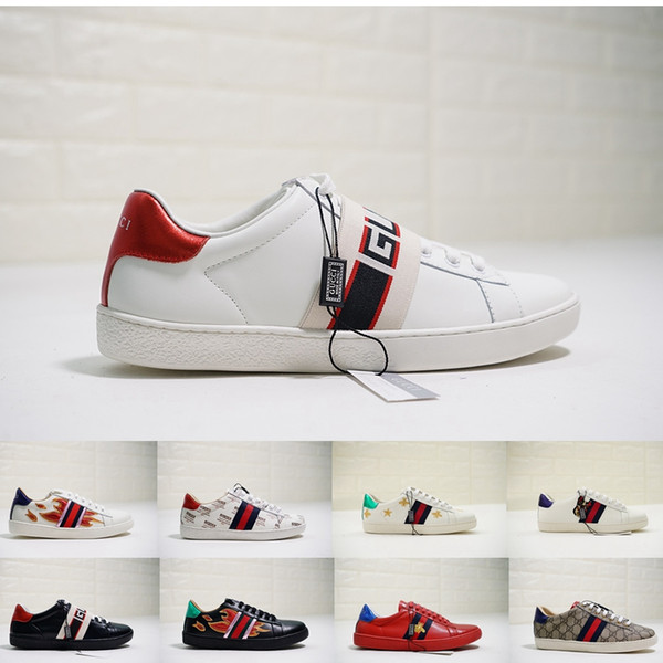 innovative design 92578 a9520 Acquista Gucci Ace Sneakers Shoes 2018 Nuove Scarpe Di Design ACE Sneakers  Luxury Tigre Bianca Ricamata Ape Scarpe Di Marca Vera Pelle Mens Sneaker ...