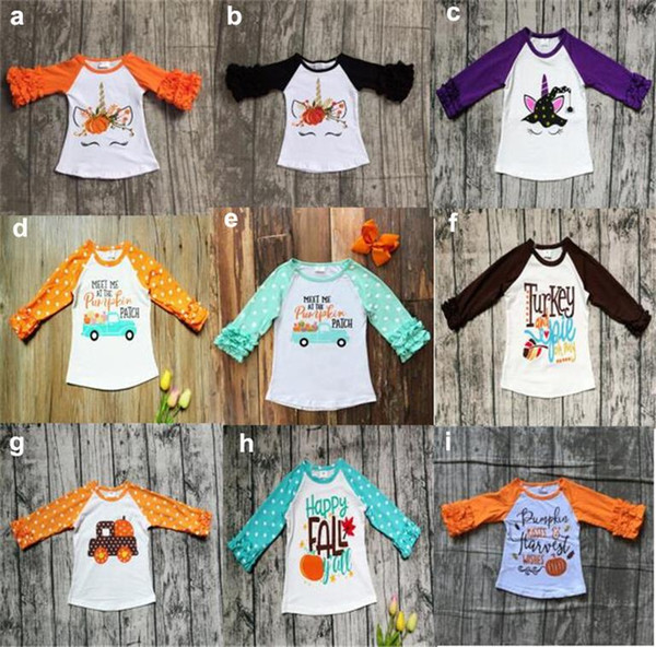 best selling Halloween Costume Baby Girls T-shirt Toddler Letter Pumpkin Flower Printed Blouse Fashion Kids Top Clothes