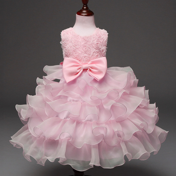 Foreign trade explosions children's dress bow dress rose dress princess skirt flower children's wear New style