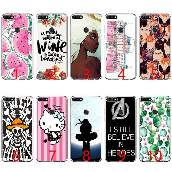 Sweet Pink Watermelon Print Soft Silicone Phone Case for Huawei P8 P9 Lite 2015 2016 2017 P10 20 Lite P Smart