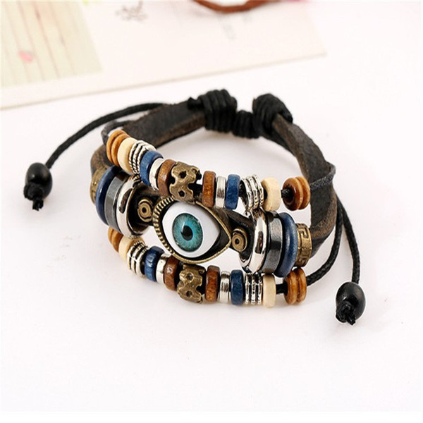 Charm Beads Blue Evil Eyes Multilayer Leather Braided Bracelet Handmade Bangle Adjustable Bracelet for Man Women Jewelry Xmas Gift B907S F