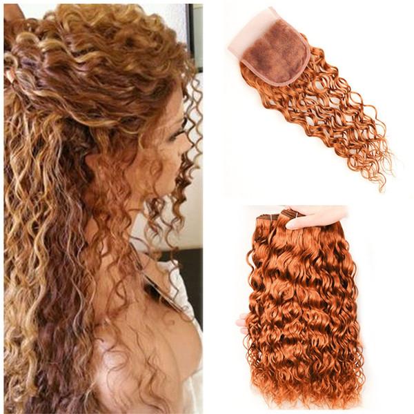 Brazilian Light Auburn Human Hair spinnt mit Spitze Schließung Water Wave # 30 rötlich braun 4x4 Schnürverschluss Wet Wavy mit 3 Bundles Angebote