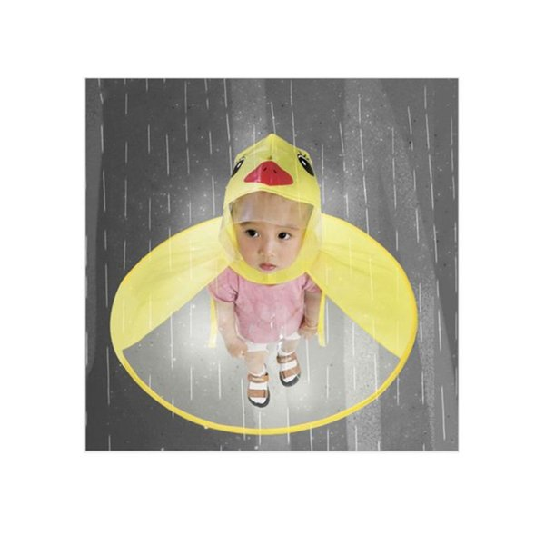 1pc PVC Child Yellow Duck Funny Rain Cap Umbrella Child Kid Adult Folding Umbrella Fishing Raincoat Cloak