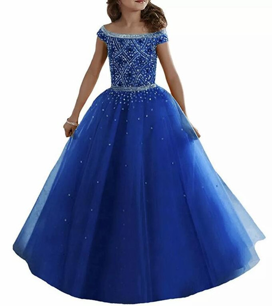 Royal Blue Off Shoulders Tulle Flower Girl Dresses Crystals Beaded Corset Back Floor Length Girls Pageant Gowns Kids Formal Party Wear