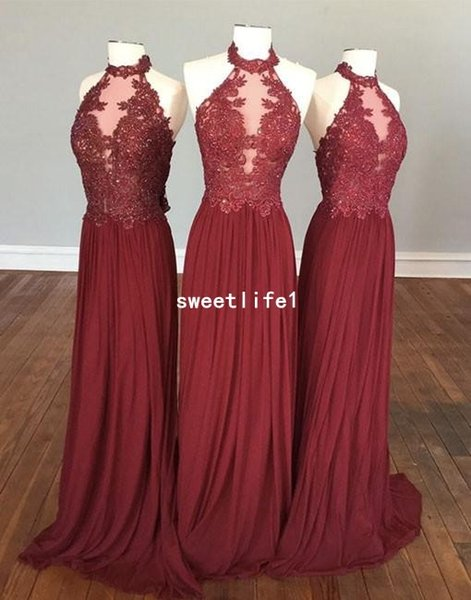 Real Image 2018 Red Lace Bridesmaid Dresses Halter Neck Chiffon Floor Length Backless Maid Of Honor Wedding Guest Gown Party Gown Custom Mad