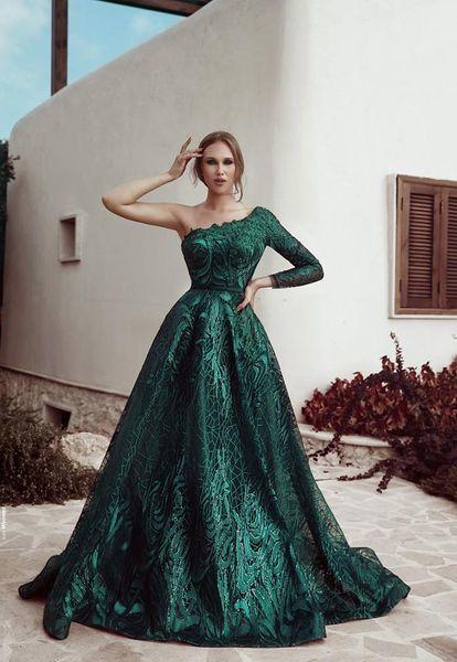 Elegant One Shoulder Evening Dresses Sweep Train Lace Prom Dress Appliqued Plus Size Saudi Arabic Dubai Red Carpet Party Gowns Custom