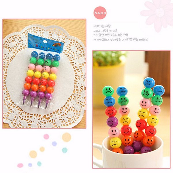 mix sale7 Colors Crayons Creative Sugar-Coated Haws Cartoon Graffiti Pen smile Stationery Gifts For Kids Wax Crayon Pencil 7 Colors AQI-677