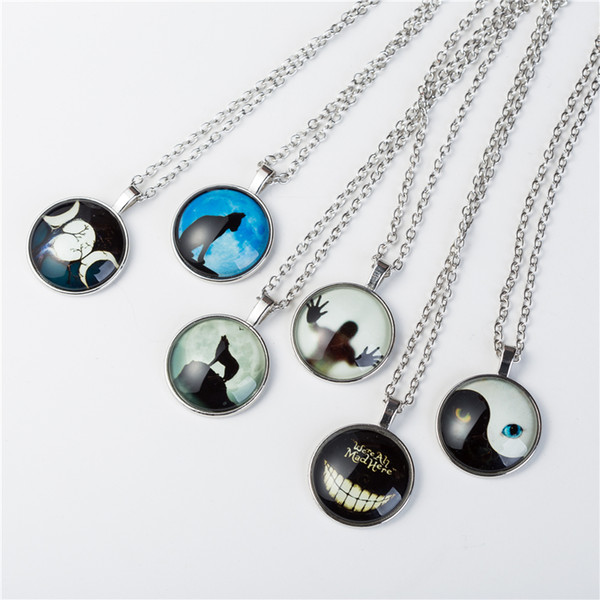 2018 Men Shadow Style Necklace Glass Cabochon Chain Statement Pendant Necklaces Glow In The Dark Nightlight choker