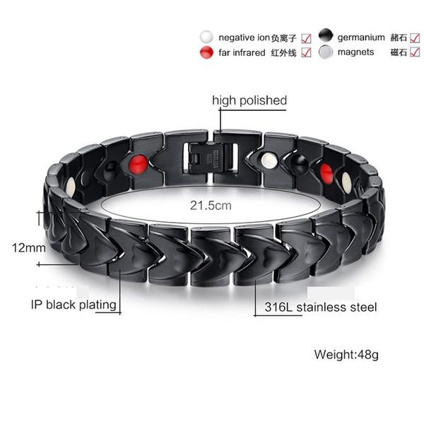 2018 новый в форме сердца гальваническим черный Магнит Германий титана стали мужской высококачественный изысканный браслет