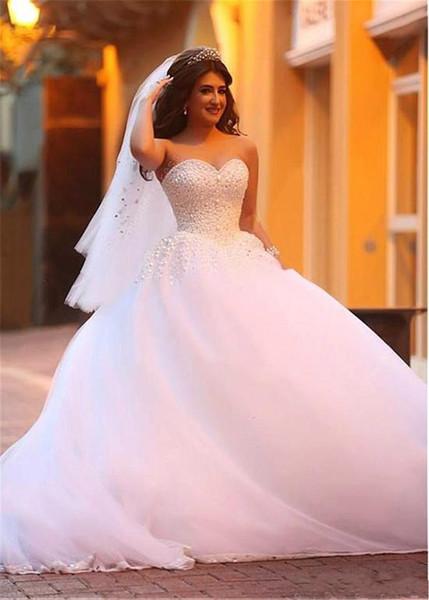 Sweetheart Neckline Ball Gown Wedding Dresses with Beadings & Rhinestones full ball gown skirt flows Bridal Dresses