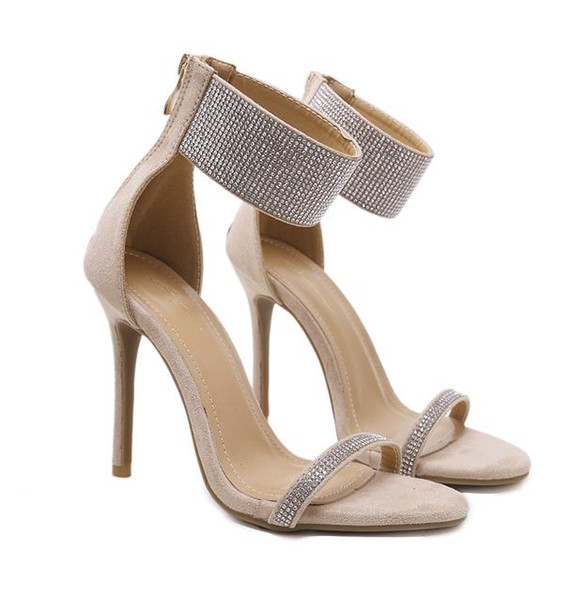 Black Glitter Rhinestone Ankle Strap Pumps Sexy High Heels Women Summer Shoes 2018 Size 35 To 40