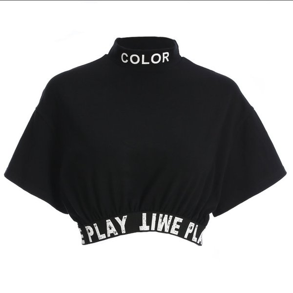 Summer fashion loose bottoming shirt women's tops, personalized letter printed ribbon elastic tight T-shirt for women.