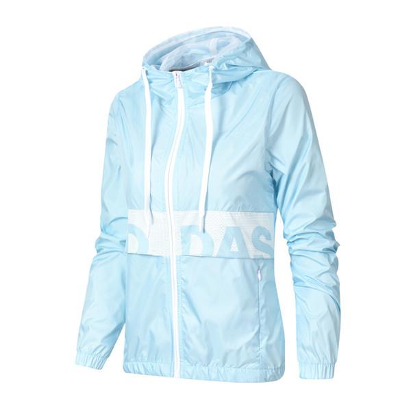 Hellblau Großhandel Sportswear Frau Jacke Kapuze Mit Mantel Sport Wind Designer Windjacke New Patchwork Reißverschluss Mädchen Lässige Hoodie Cool L4AR35j