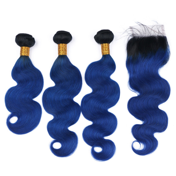 Dark Blue Ombre Brazilian Human Hair Wefts with Closure Body Wave #1B/Blue Dark Root Ombre 4x4 Lace Closure Piece with Weave Bundles