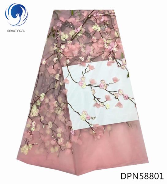 3D Spitze Stoff Französisch Spitze Stoff Nigerianischen besticktem Tüll Stoff für Hochzeitskleid Blumen Stil 5 Yards DPN588