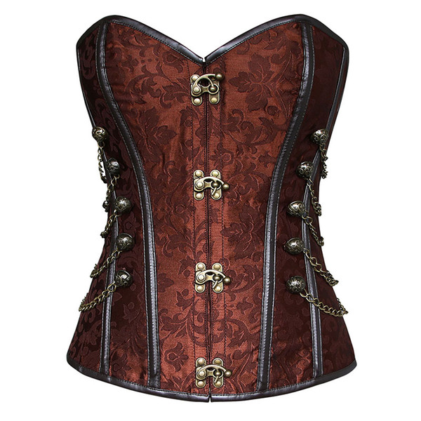 best selling Women's Brocade Buckle Steampunk Gothic Punk Faux Leather Steel Boned Corset with Chain Plus Size Waist Training Corsets S-6XL
