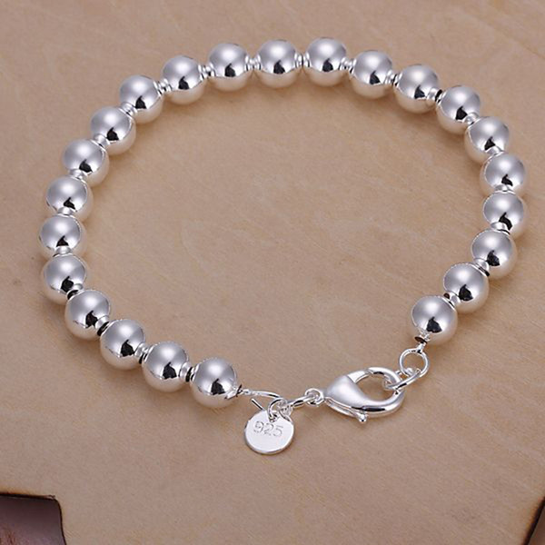 Fine 925 Sterling Silver Bracelet,XMAS New Style 925 Silver chain bead Bracelet For Men Fashion Jewelry n Link Italy Percing XH126