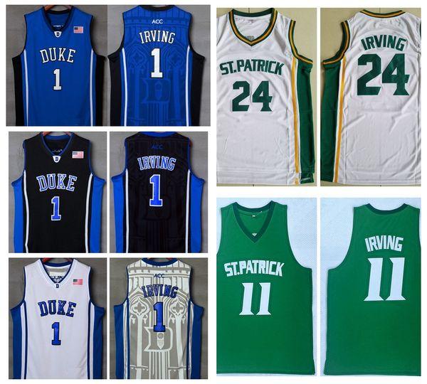 Mens Green Kyrie Irving #11 St. Patrick High School Basketball Jersey 24 Kyrie Irving Stitched Basketball Shirts Duke Blue Devils College