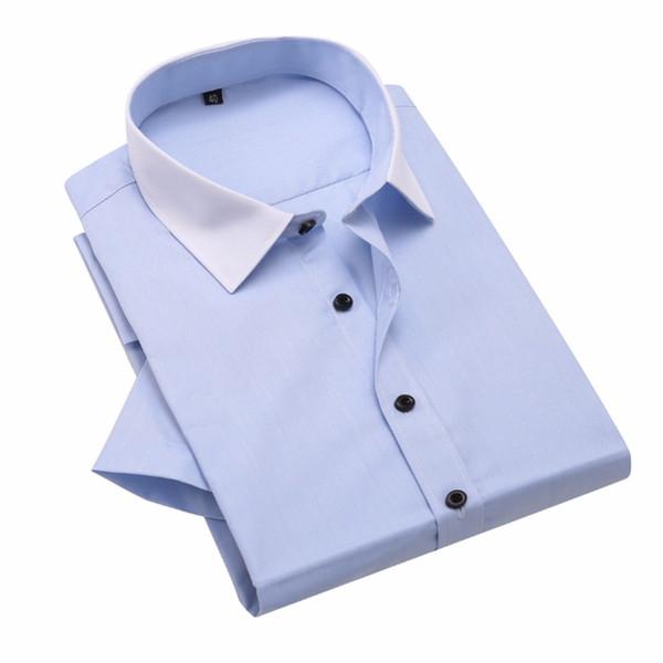Camisa de vestir sin mangas para hombre de manga corta sin mangas con cuello en V para hombre Camisa de vestir en forma de vestido formal B06