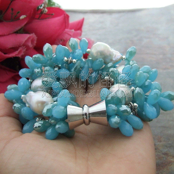 "B101413 8"" 3 Strands 15x16MM White Keshi Pearl Blue Crystal Bracelet"