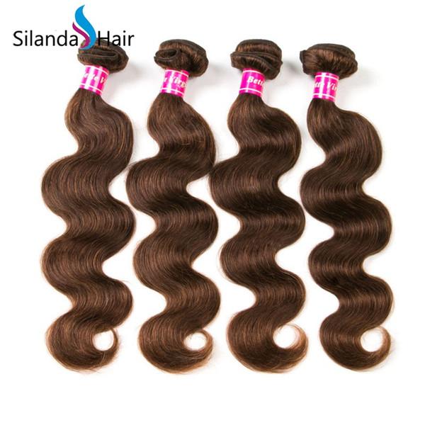Silanda Hair 100 percent Pure Brown #4 Brazilian Remy Human Hair Bundles Body Wave hair Weft Weaves 3pcs per pack Free Shipping