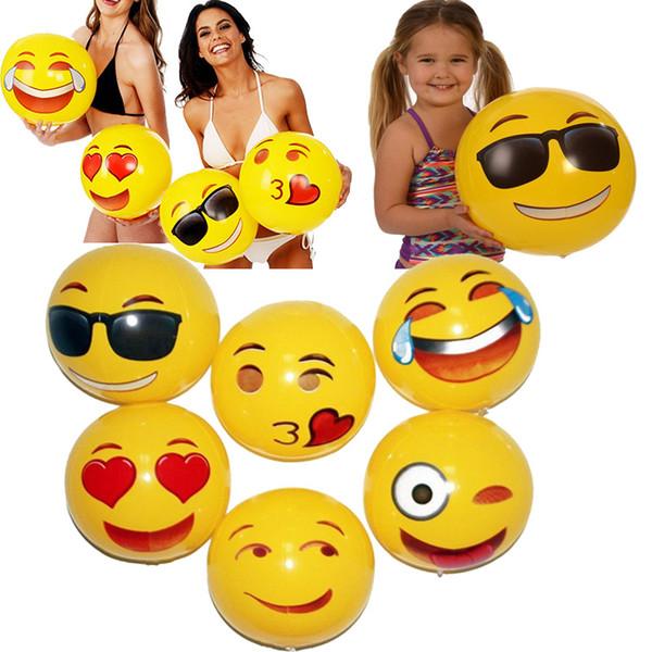 30 cm pvc beach ball giocattoli del partito espressione emoji faccia palla gonfiabile per bambini adulti sabbia giochi d'acqua giocattoli divertenti forniture per feste WX-T103