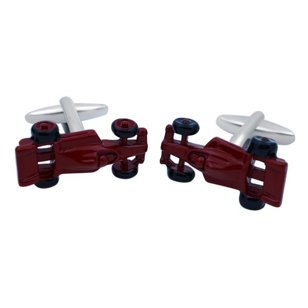 Gemelli della camicia da uomo in ottone di colore rosso Materiale Novità Gemelli per accessori da corsa di design da auto da corsa per regalo di promozione