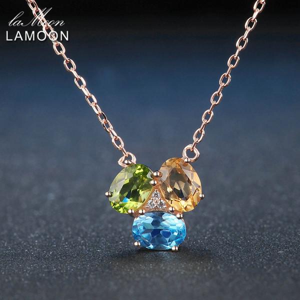 Lamoon Oval Amarelo Citrino Verde Peridoto Azul Topázio 925 Sterling Silver Cadeia Pingente de Colar de Ouro Rosa Cor S925 NI051Y1882701