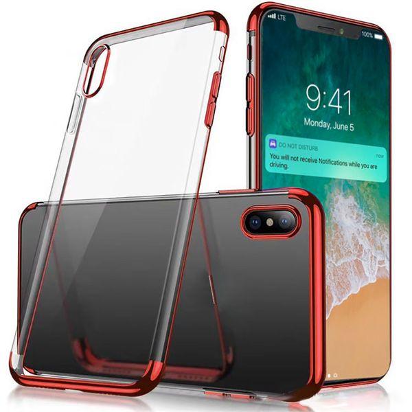 Yumuşak Temizle TPU Kılıf Için iPhone XS MAX Not 9 Elektrolizle Jel Temizle Vaka Anti-şok Kapak Kılıfları Huawei P10 Lite Mate 10 Samsung S9 S8