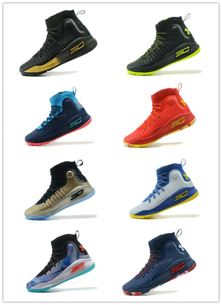 Wholesale UA Stephen Curry 4 More Dimes White Blue Red Gold Championship MVP Finals Mens Basketball Shoes Sports Sneakers Jordans Shoes Sport Shoes
