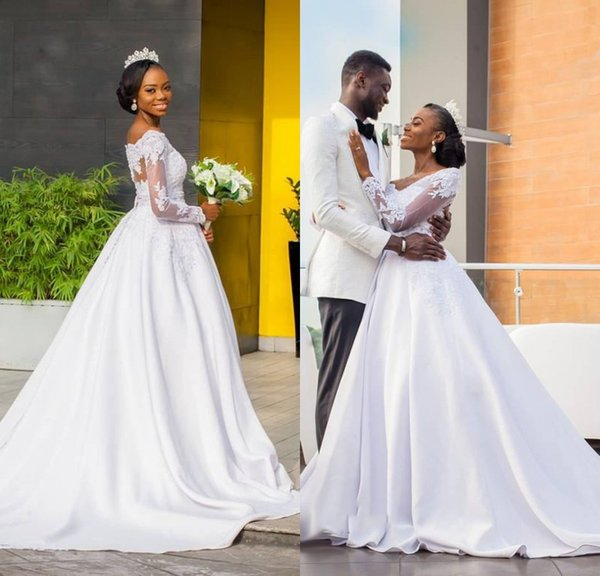 Latest White A Line Wedding Dresses With Lace Long Sleeves Off Shoulder Satin Chapel Train Wedding Gowns Bridal Dresses Online Custom Made