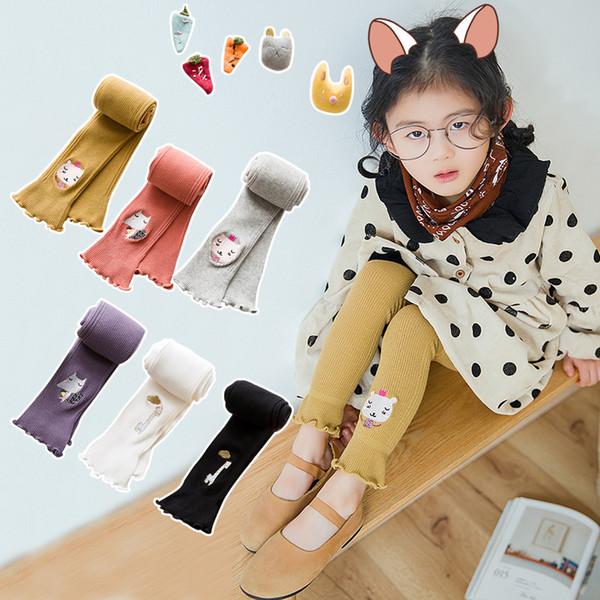 Cute Cartoon Cat Girl Leggings Cotton Baby Girls Knitting Leggins Warm Pants Children Clothing Trousers Kids Pencil Pants Getry