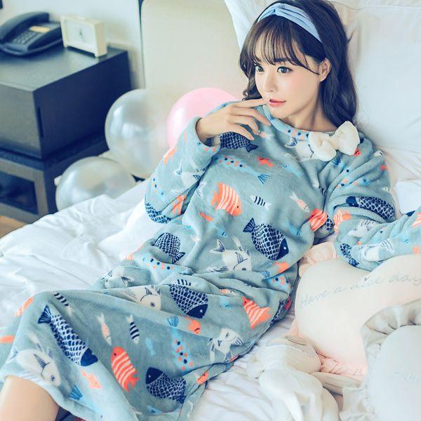 New Fashion Lady Sweet Womens Thicken Warm Women Winter Night Skirt Leisure Home Clothes Long Sleeve Flannel NIghtgown Sleepwear