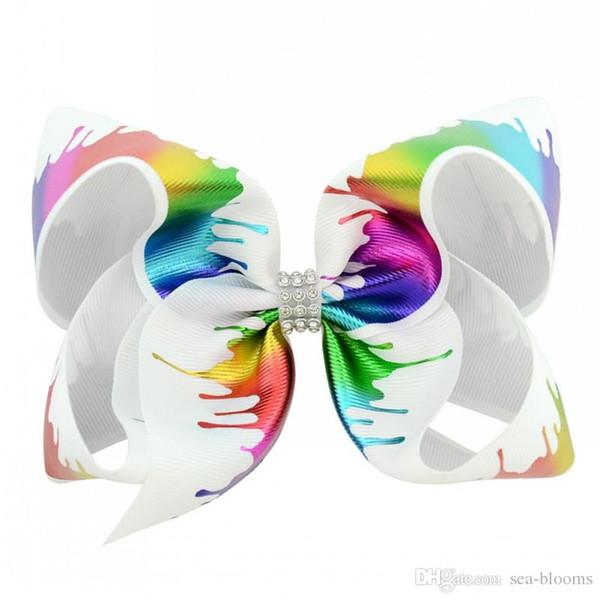 JOJO разноцветные ручной работы Grosgrain ленты волос Лук Аллигатор клипы Радуга лук клипы аксессуары для волос Для маленьких девочек дети подростки H950R