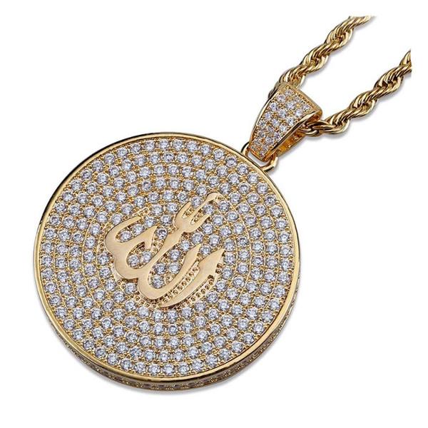 Retro pendant jewelry full of zircon personality pendant cross border accessorie men's Pendant with black and white zircons hip-hop Necklace