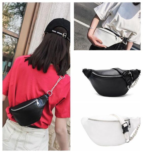 Women PU Waist Bag Fanny Pack Shoulder Chest Bag Bum Hip Purse Travel Punk chain Waist bag KKA5046