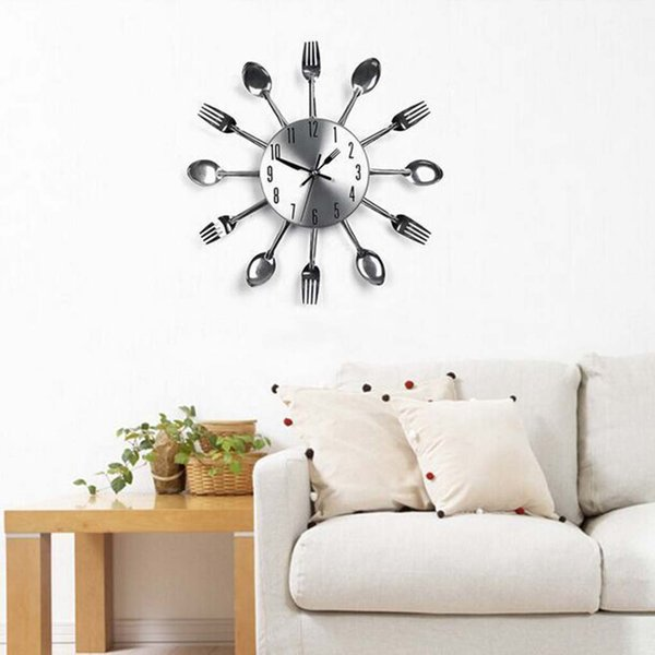 DIY Removable 3D Mirror Wall Clock Modern Cutlery Kitchen Spoon Fork Wall Sticker Living Room Decor Decal