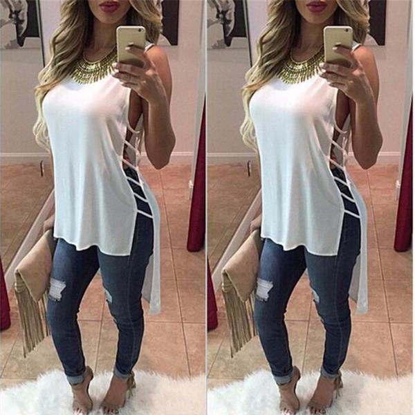 Wholesale- 2016 solid hole t shirts kawaii women summer camisas tee shirt femme top ropa poleras de mujer tumblr irregular clothing tshirt