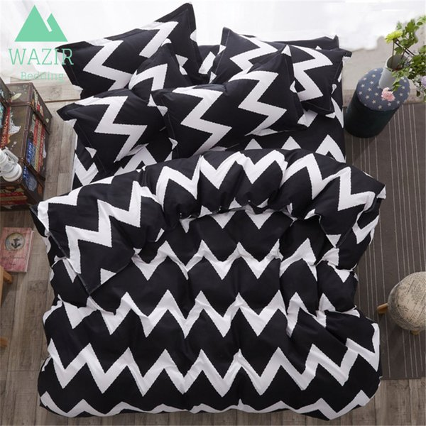 WAZIR Geometric Striped Black and White Dots Bedding Set Home Textile Duvet Cover Bed Sheet Pillowcases Bedroom Decor Bedclothes