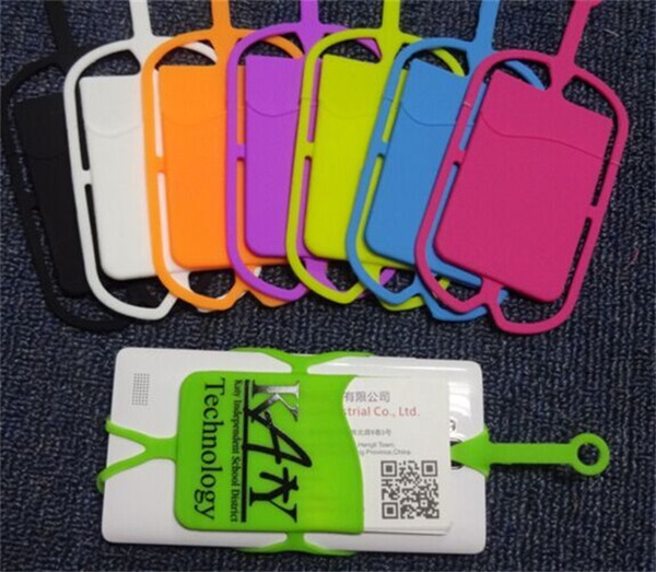 Customized LOGO Universal Mobile Soft Silicone Card Slot Holder Cell phone Case with Lanyard Neck Strap Pouch for iphone 9 Smartphones