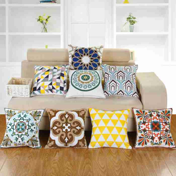 Full Cotton Embroidered Pillowcases Rural Style Series Pillow Case Decorative Sofa Car Cushion Cover Home Cafe Decor Party Gift 45*45CM