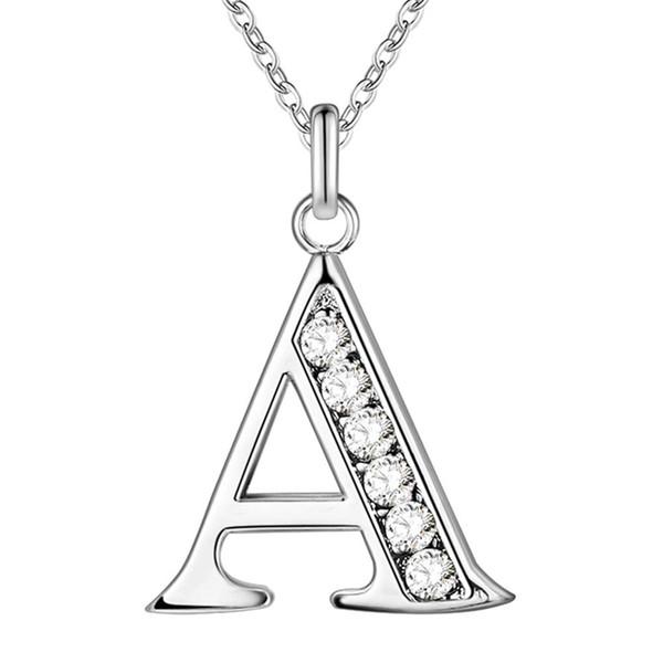 La letra CALIENTE A-Z libera el envío Collar plateado, joyería de plata de la manera del sello 925 Colgante de moda / XYLQNNAG XYLQNNAG