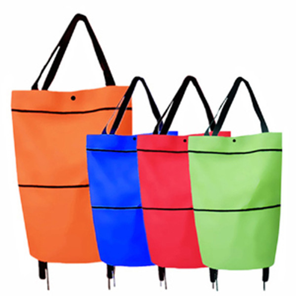 best selling Household portable load-bearing 10 kg hand cart telescopic tug bag supermarket shopping bag shopping cart folding shopping cart